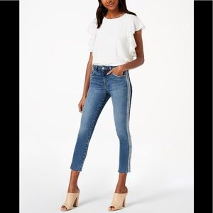 Joe's Jeans 'The Icon' Tuxedo-Stripe Mid-Rise Crop